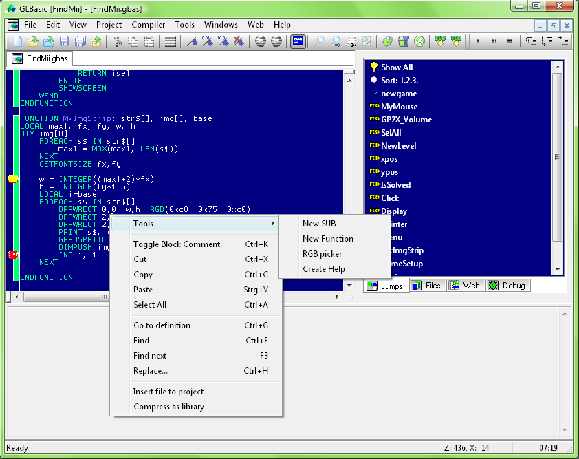 GLBasic is a simple and fast programming language designed for game programming.